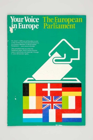 1979 Primeras elecciones directas al Parlamento Europeo. Leaflet for the European elections United Kingdom, 1979 Reproduction. Personal collection, Brussels, Belgium
